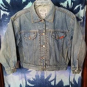 Vtg 80s Jordache cropped distressed jean jacket